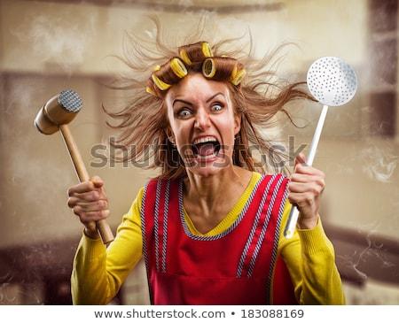 zangado · mulher · cortar · fora · retrato - foto stock © ichiosea