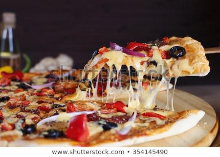 pizza · dilim · parti · peynir · akşam · yemeği · domates - stok fotoğraf © nejron