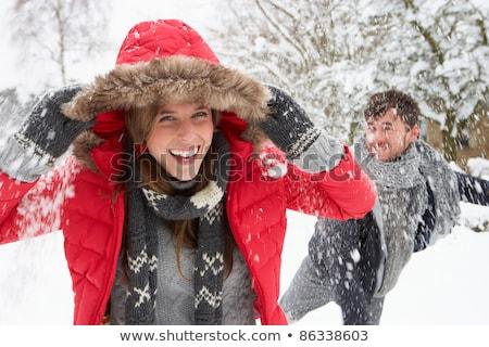 Bola de neve lutar casal neve jardim Foto stock © monkey_business