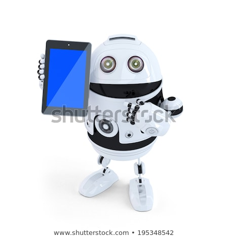 robot holding a tablet isolated contains clipping path stock photo © kirill_m