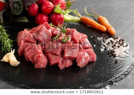生 ビーフステーキ 木材 ディナー 肉 調理 ストックフォト © M-studio