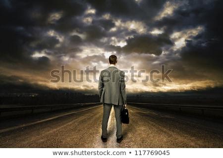 ビジネスマン ブリーフケース 立って 道路 スーツ ビジネス ストックフォト © cherezoff