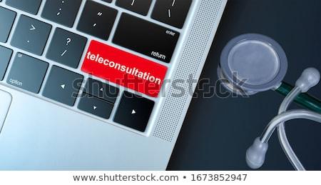 Medicate piros billentyűzet gomb belépés fekete Stock fotó © tashatuvango