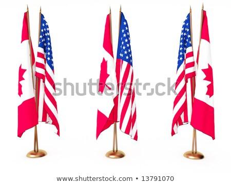 США Канада миниатюрный флагами изолированный белый Сток-фото © tashatuvango