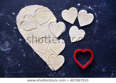 Dia dos namorados mesa de madeira comida coração sobremesa Foto stock © asturianu