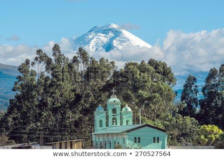 Stok fotoğraf: Vadi · volkan · Ekvador · gün · batımı · manzara · kar