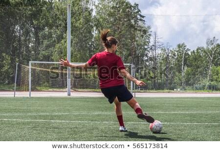 Stock photo: Sports woman play football