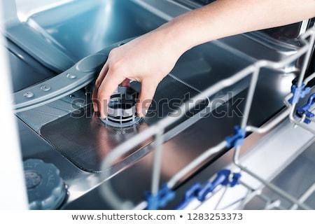 Ayrıntılar açmak bulaşık makinesi temizlemek çalışmak Stok fotoğraf © vladacanon
