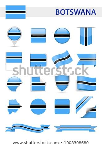 Tér címke zászló Botswana izolált fehér Stock fotó © MikhailMishchenko