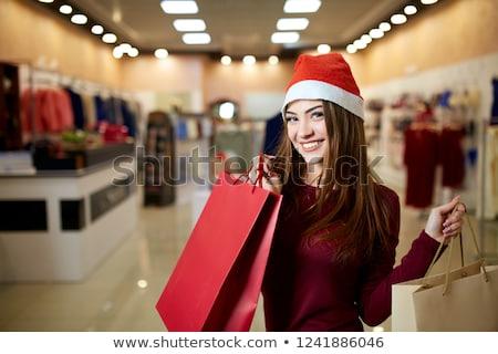 Foto stock: Bastante · menina · vermelho · natal · seis · colorido
