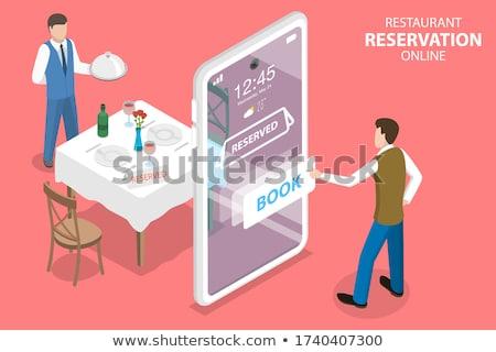 レストラン を 予約 コンピュータのキーボード カトラリー ボタン ストックフォト © make