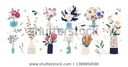 Virágok virágcsokor váza izolált fehér természet Stock fotó © tetkoren