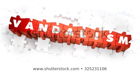 Vandalizmus fehér szó piros 3d illusztráció város Stock fotó © tashatuvango