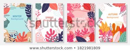 Four Vector Flat Nature Garden Spring Flowers Patterns Set Stock photo © Anna_leni