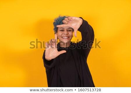 Kifejező fotó gyönyörű nő eredeti hajviselet fekete Stock fotó © igor_shmel