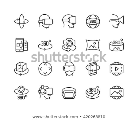 man wearing virtual reality headset line icon stock photo © rastudio