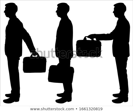 Stock fotó: Fiatalember · tart · bőrönd · izolált · fehér · férfi