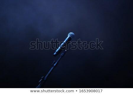 Mikrofon kék lemez stúdió absztrakt sötét Stock fotó © your_lucky_photo