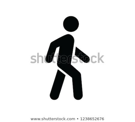 Voetganger teken geschilderd weg kind straat Stockfoto © Digifoodstock