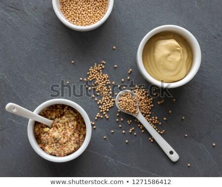 glas · mosterd · witte · voedsel · graan · Spice - stockfoto © filipw
