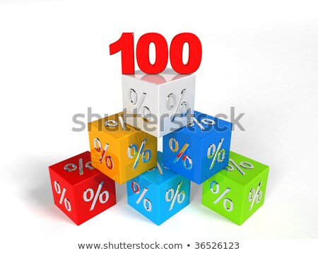 100 percentages in red cubes  Stock photo © marinini