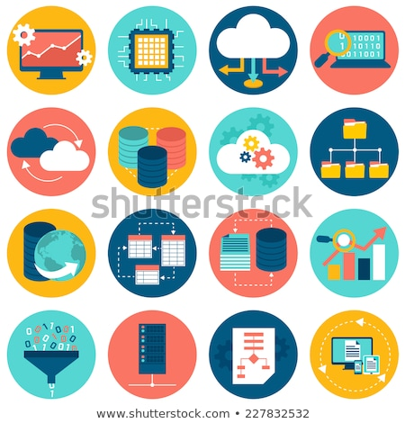 Beveiligde database icon ontwerp business geïsoleerd Stockfoto © WaD