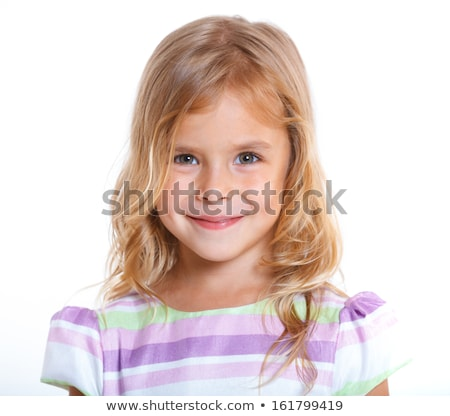 portrait of beautiful smiling toddler girl with blonde hair stock photo © scheriton