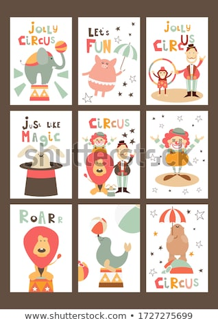 childish birthday card with funny elephants stock photo © balasoiu