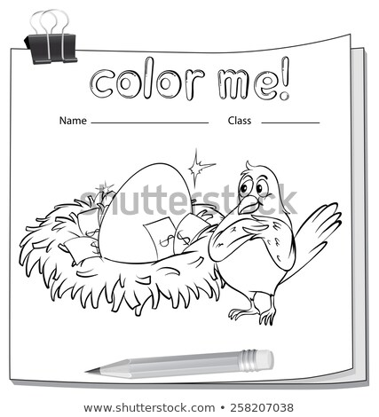 Coloring worksheet with a bird beside the nest Stock photo © bluering