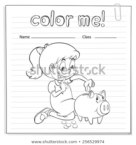 Worksheet showing a thrifty girl Stock photo © bluering