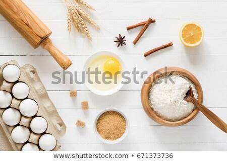 ボウル 白 ブラウンシュガー 食品 背景 表 ストックフォト © Alex9500
