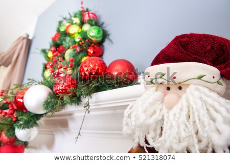 Woolly face of a toy Santa Claus below a wreath Stock photo © ozgur