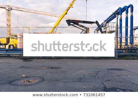 Stock fotó: Figyelmeztető · jel · építkezés · copy · space · ipar · ipari · szállítás