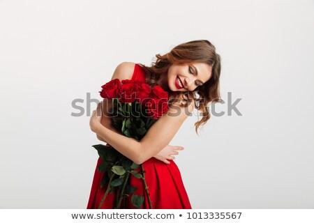 довольно Lady красную розу ароматный цветок Сток-фото © majdansky