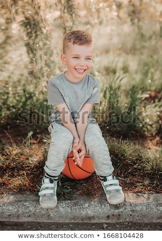 cute boy sweating after outdoor sports in nature Stock photo © meinzahn