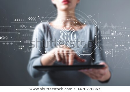 Stock fotó: business woman with fingerprints scans