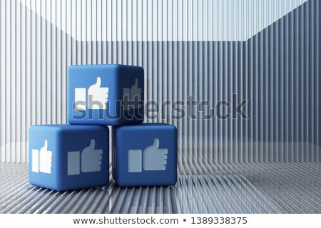 cubes with thumb up for social networking Stock photo © magann
