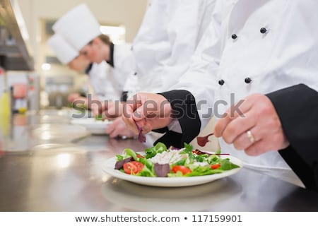 férfi · hús · konyhapult · portré · kaukázusi · fa - stock fotó © wavebreak_media