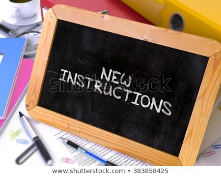 新しい 説明書 白 チョーク 黒板 ストックフォト © tashatuvango