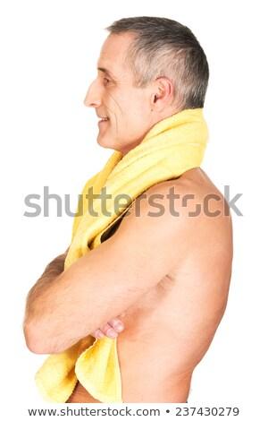 Portre mutlu kas adam havlu etrafında Stok fotoğraf © wavebreak_media