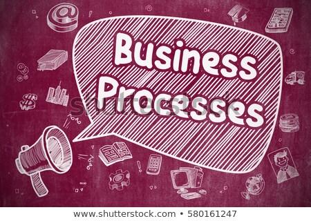 Process Management - Doodle Illustration on Red Chalkboard. Stock photo © tashatuvango