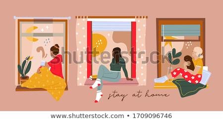 женщину сидят окна чтение городского Председатель Сток-фото © IS2