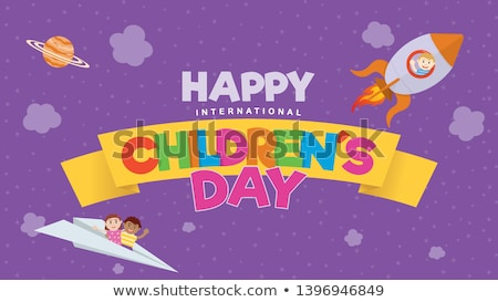Happy International Childrens Day lettering text for greeting card Stock photo © orensila