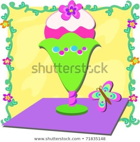 Wijnstok frame zoete ijscoupe hier kleurrijk Stockfoto © theblueplanet