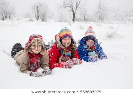 Drie kinderen sneeuw natuur kind winter Stockfoto © IS2