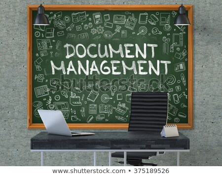 Document Management Concept. Doodle Icons on Chalkboard. 3D. Stock photo © tashatuvango