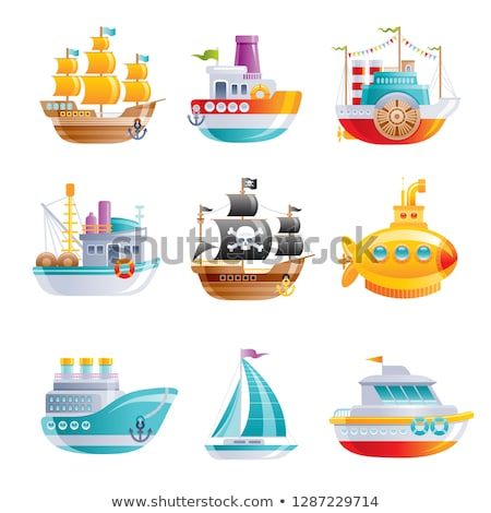 Vintage vissersboot geïsoleerd witte icon zijaanzicht Stockfoto © studioworkstock