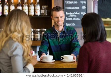 дружественный бармен эспрессо кофе клиентов Сток-фото © Kzenon