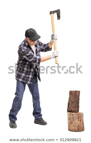 Idős férfi tapsolás tűzifa kert napos idő Stock fotó © wavebreak_media