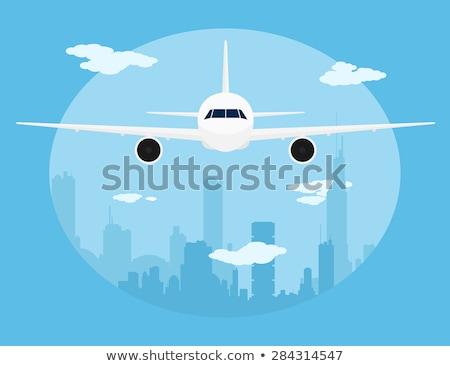 Avión grande ciudad silueta estilo ilustración Foto stock © Natali_Brill
